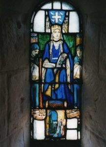 St. Margaret in stained glass,. St margaret's Chapel, Edinburgh Castle, Photo - George Robertson