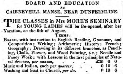 Advertisement from The Fife Herald 3rd August 1837