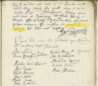 Image of an extract from the Dunfermline Burgh Council Minutes, kind permission of the National Records of Scotland